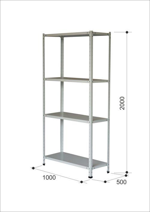 Легкий металлический стеллаж серии МС до 100 кг на полку